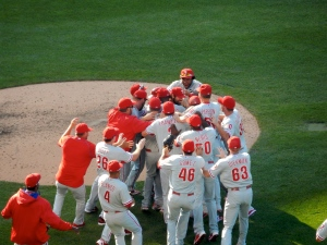 Cole Hamels is mobbed by his teammates after completing his no-hitter.